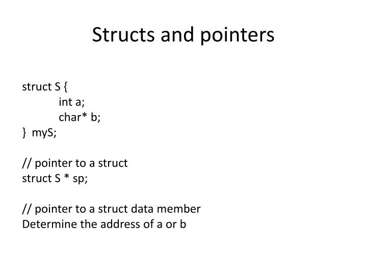 Structs and pointers