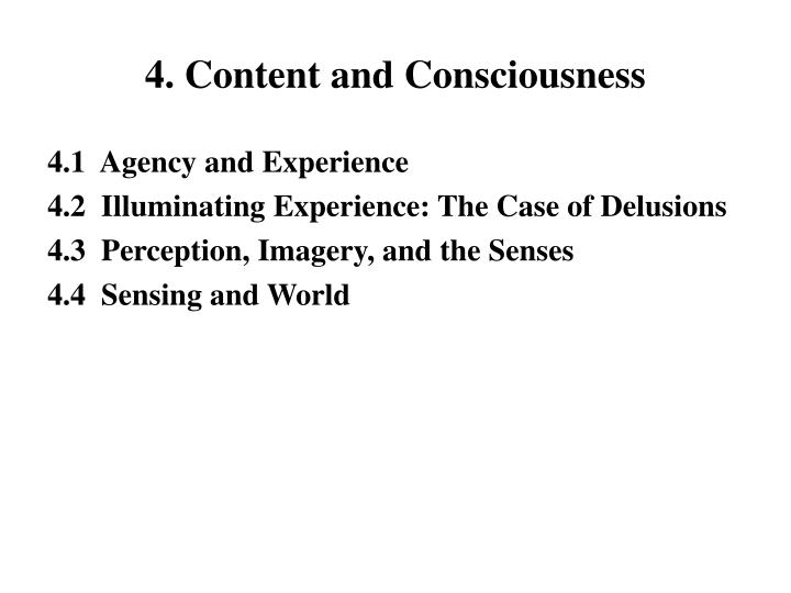 4. Content and Consciousness