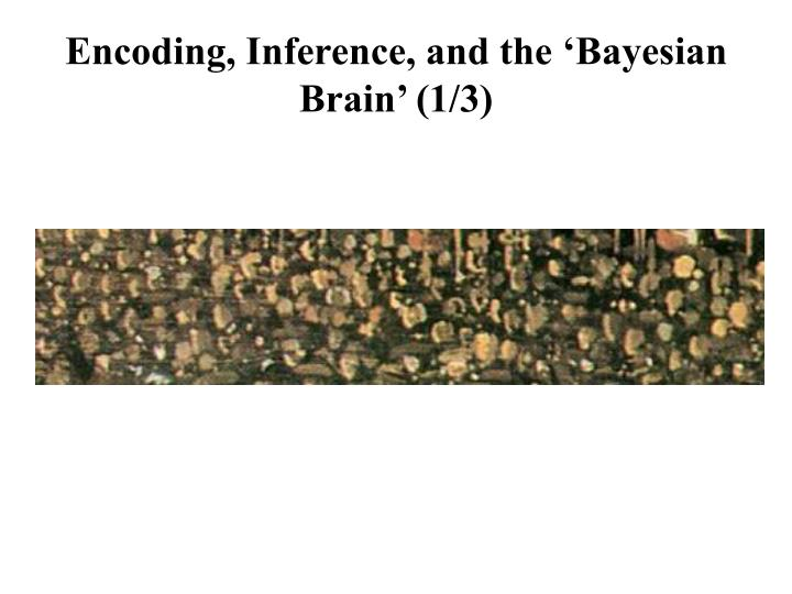 Encoding, Inference, and the 'Bayesian Brain' (1/3)