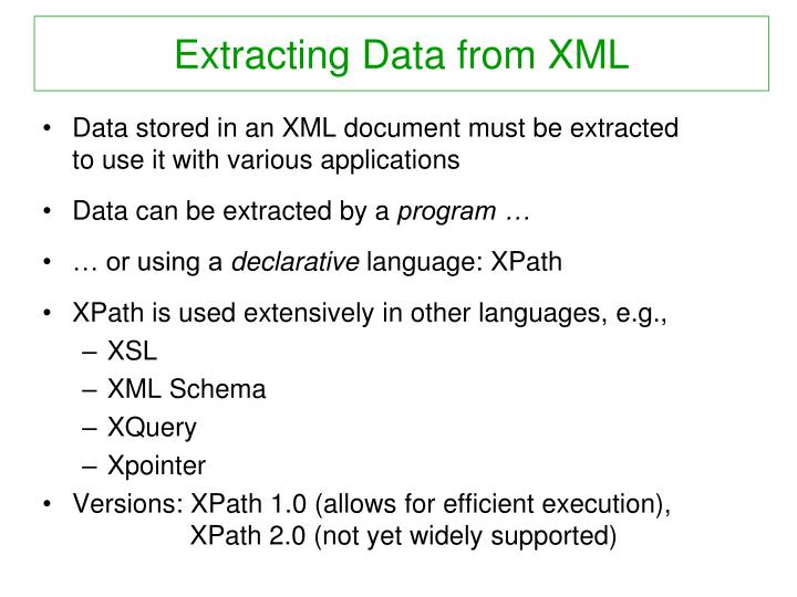 Extracting Data from XML