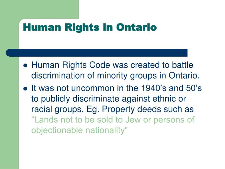 Human Rights in Ontario