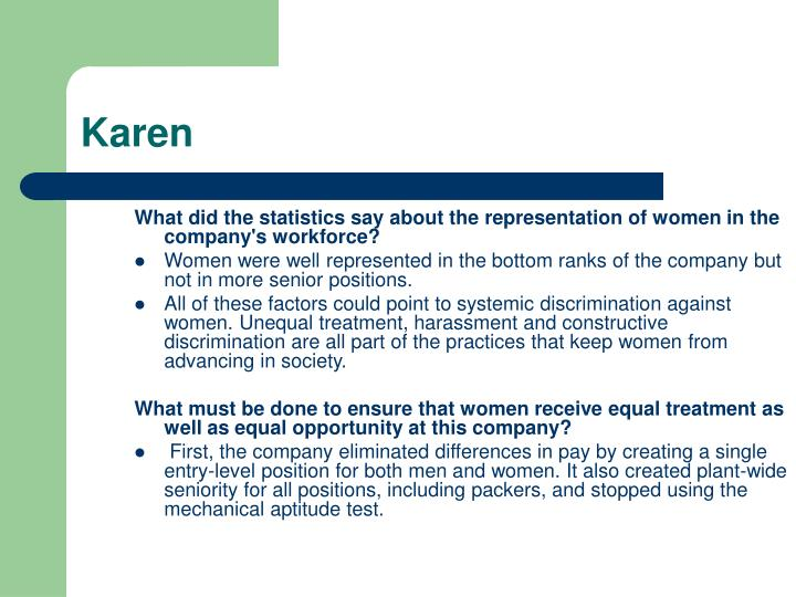 What did the statistics say about the representation of women in the company's workforce?