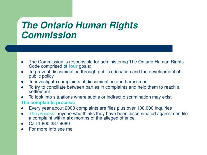 The Ontario Human Rights Commission
