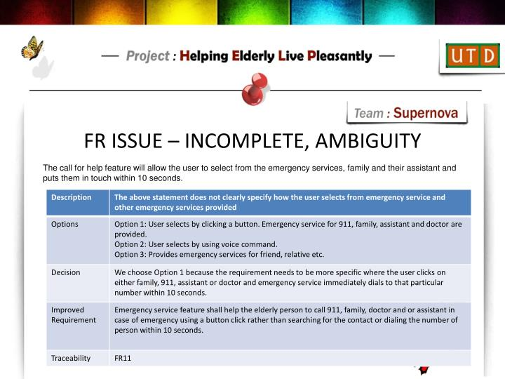 FR ISSUE – INCOMPLETE, AMBIGUITY