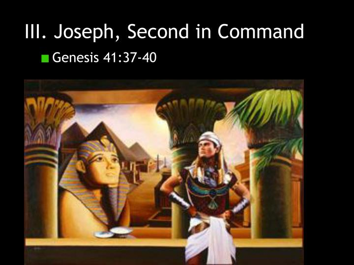 III. Joseph, Second in Command