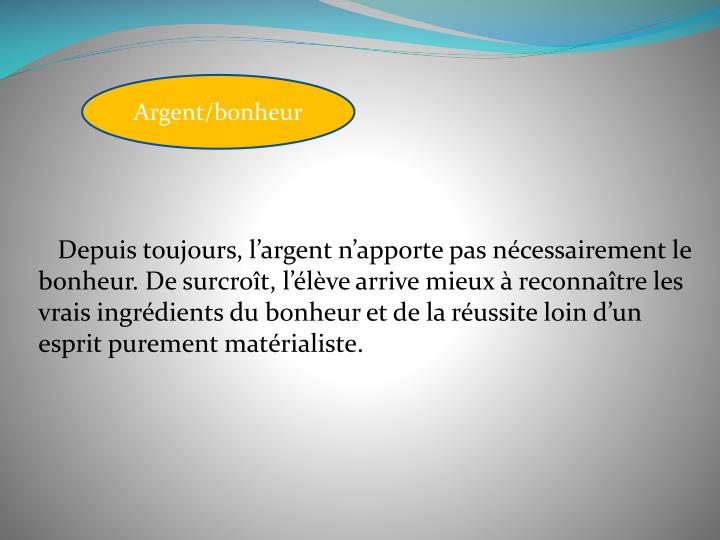 Argent/bonheur