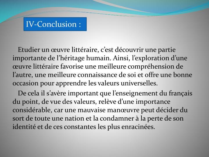 IV-Conclusion: