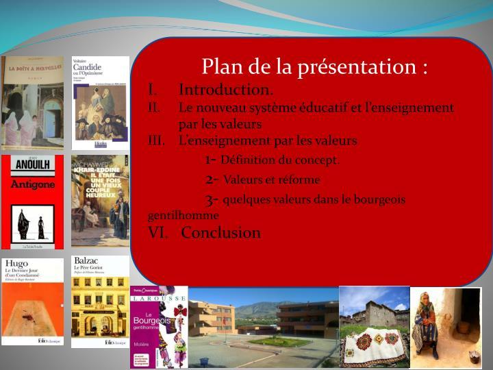 Plan de la présentation :