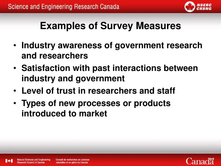 Examples of survey measures