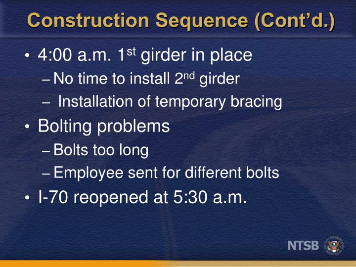 Construction Sequence (Cont'd.)
