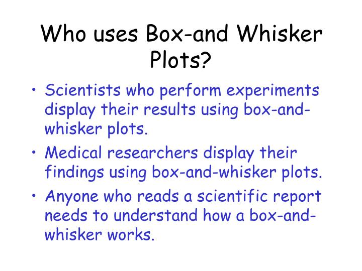Who uses Box-and Whisker Plots?