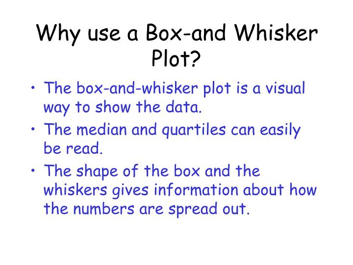 Why use a Box-and Whisker Plot?