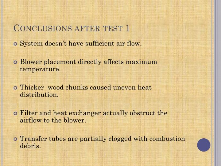 Conclusions after test 1