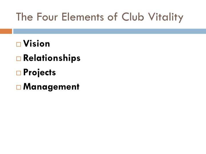 The Four Elements of Club Vitality