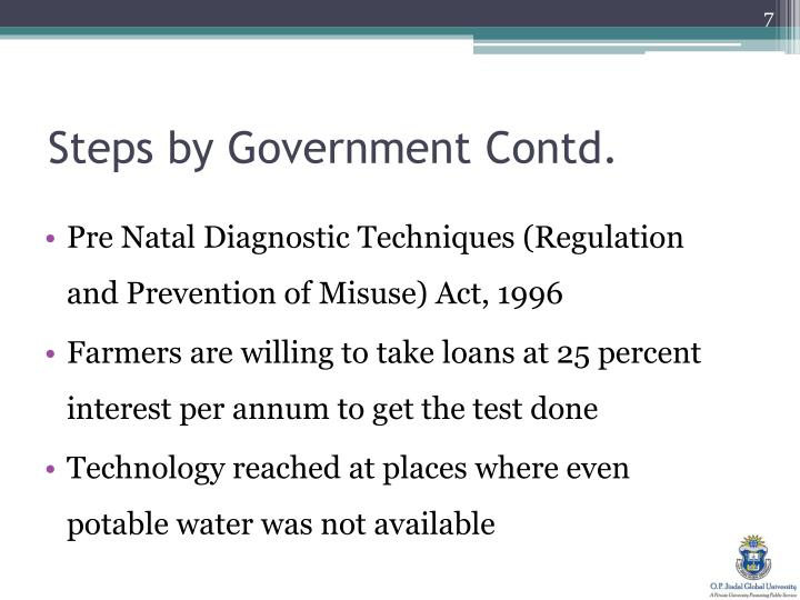 Steps by Government Contd.