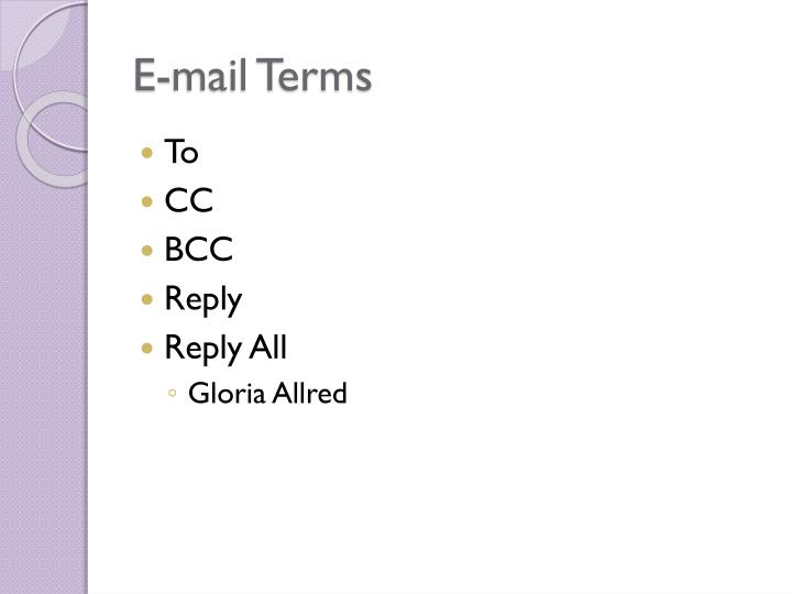 E-mail Terms