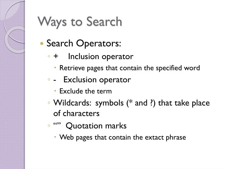 Ways to Search