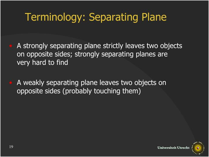 Terminology: Separating Plane