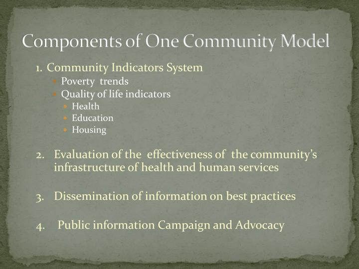 Components of one community model