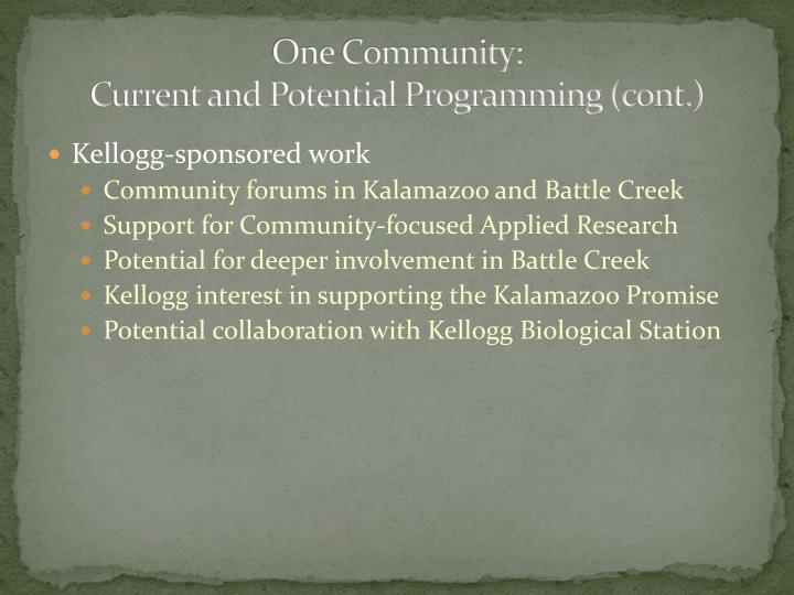 One Community: