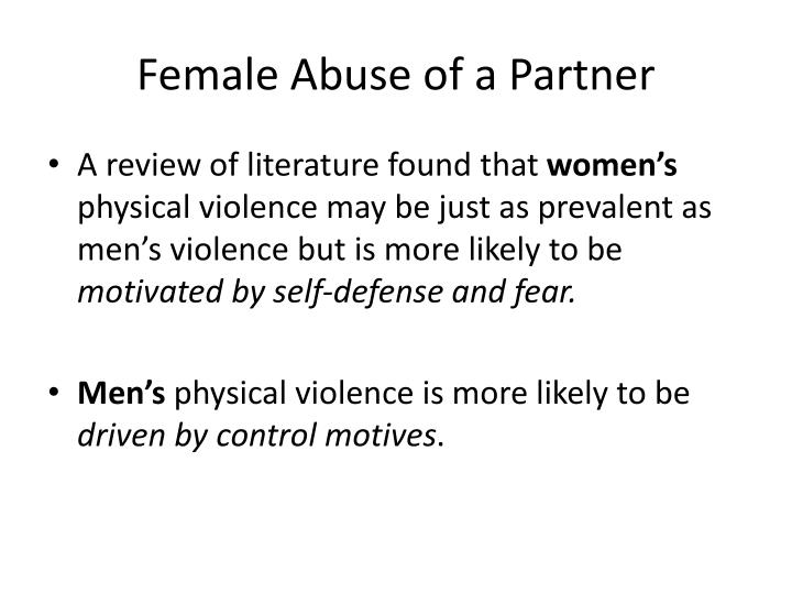 Female Abuse of a Partner