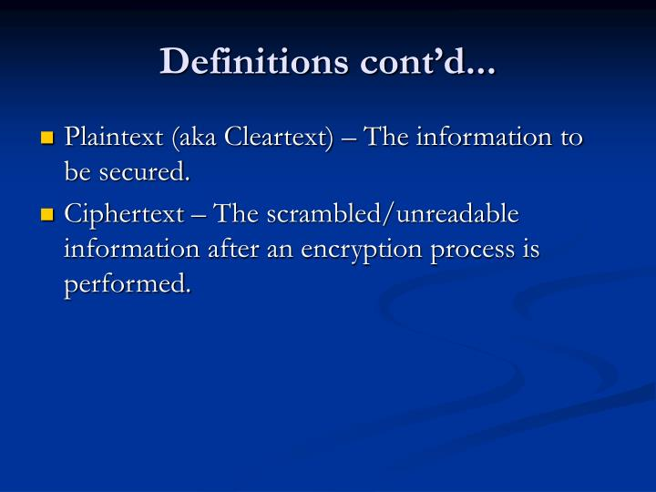 Definitions cont'd...