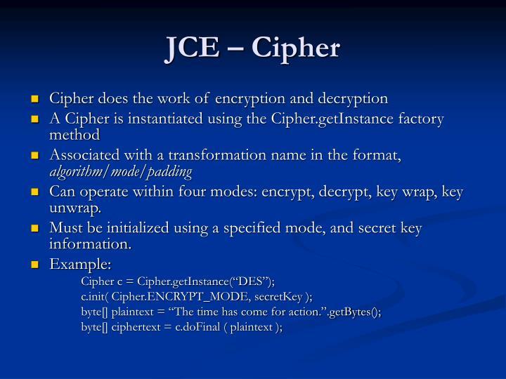 JCE – Cipher