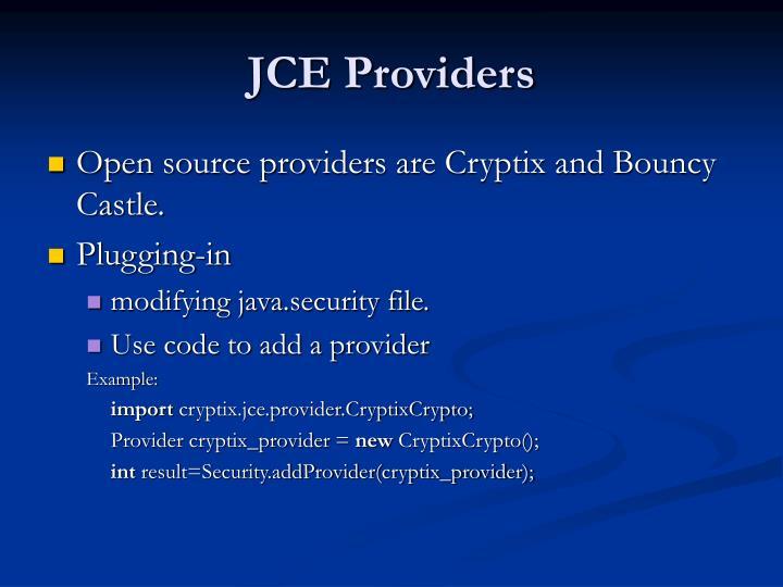 JCE Providers