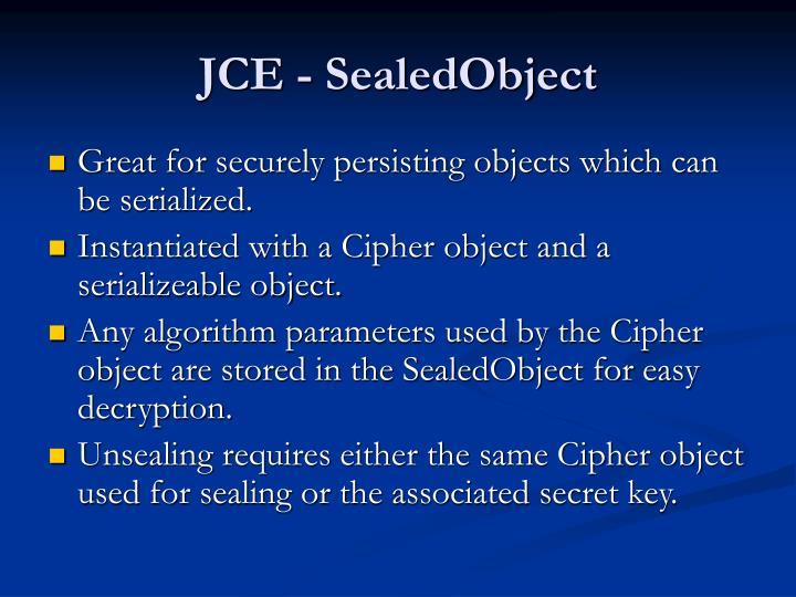 JCE - SealedObject