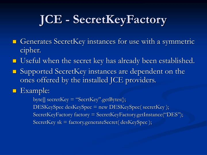 JCE - SecretKeyFactory