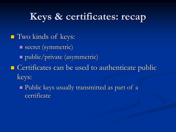 Keys & certificates: recap