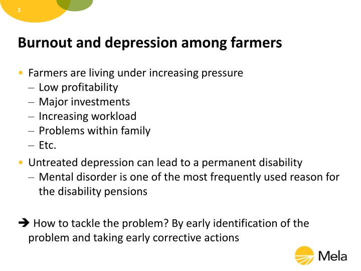 Burnout and depression among farmers