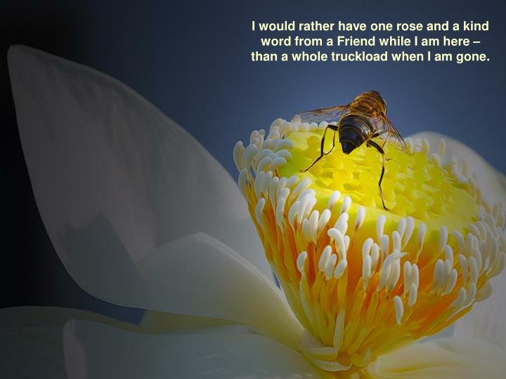 I would rather have one rose and a kind word from a Friend while I am here – than a whole truckload when I am gone.