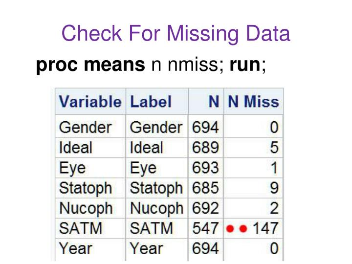 Check For Missing Data
