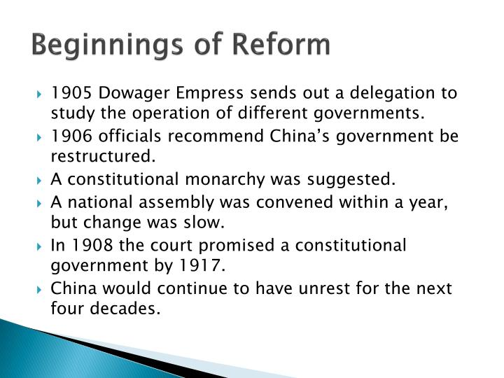 Beginnings of Reform