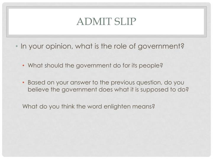 Admit Slip