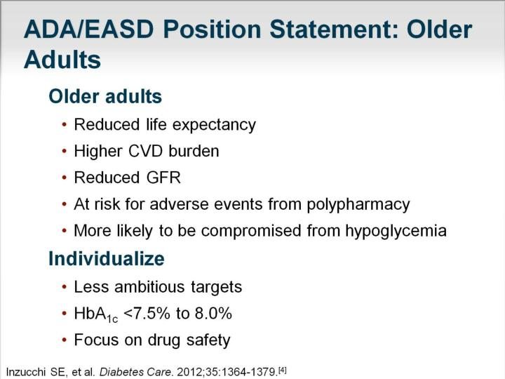 ADA/EASD Position Statement: Older Adults