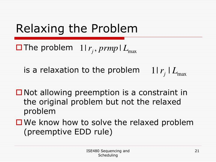Relaxing the Problem