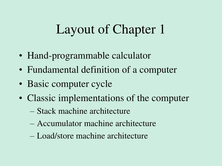 Layout of Chapter 1