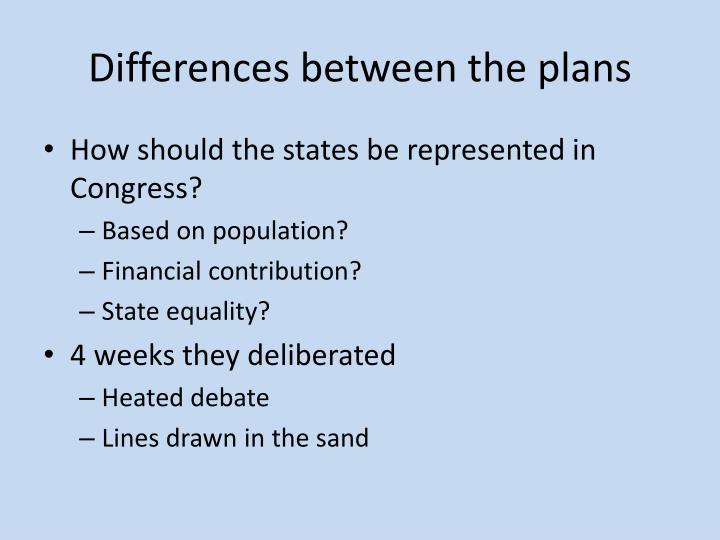 Differences between the plans