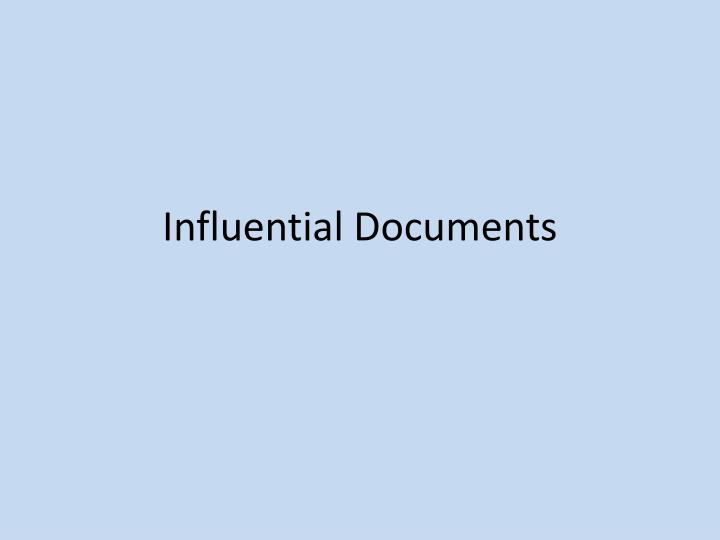 Influential Documents