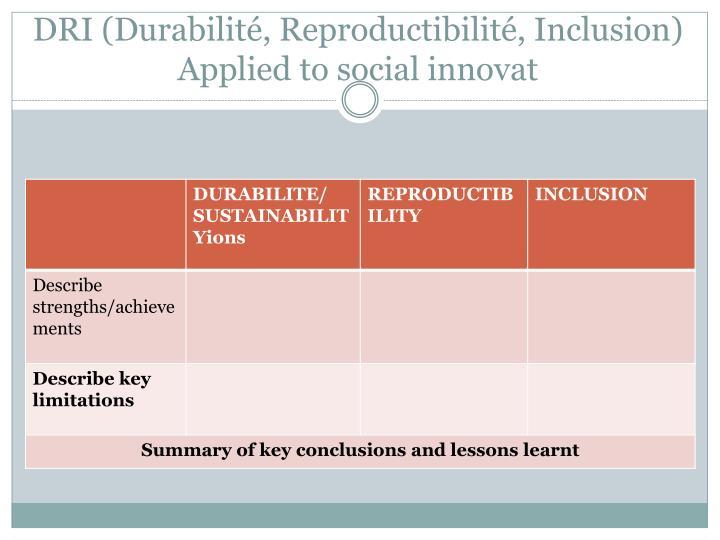 DRI (Durabilité, Reproductibilité, Inclusion)