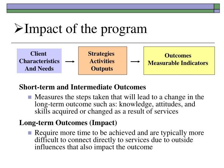 Impact of the program