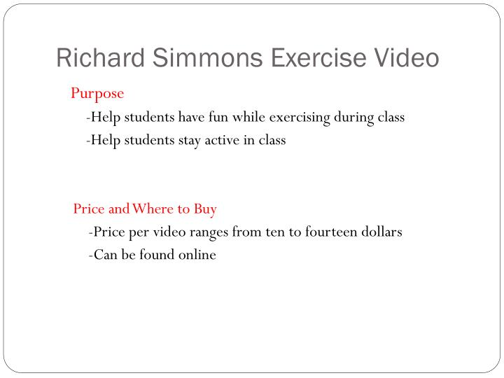 Richard Simmons Exercise Video