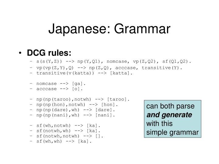 Japanese: Grammar