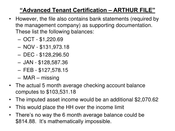 """Advanced Tenant Certification – ARTHUR FILE"""