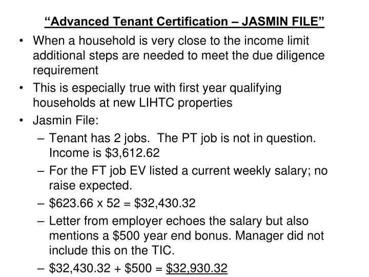 """Advanced Tenant Certification – JASMIN FILE"""