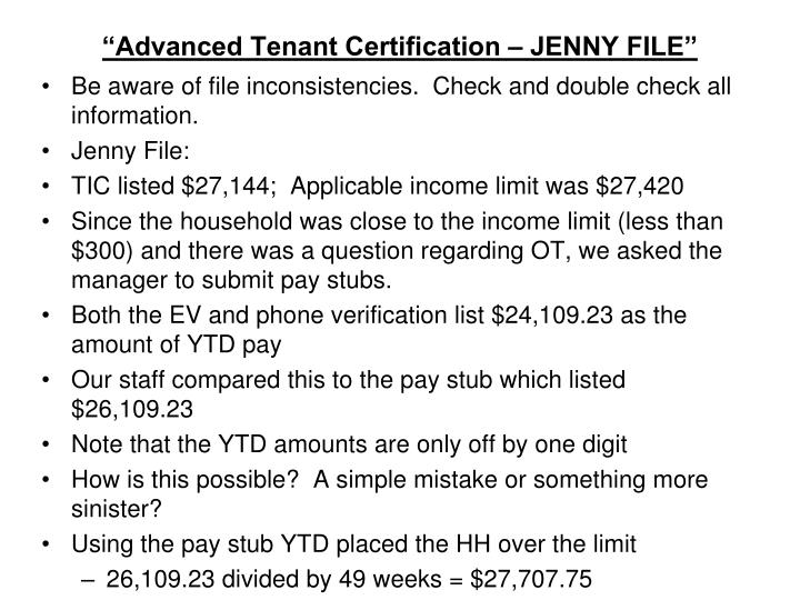 """Advanced Tenant Certification – JENNY FILE"""
