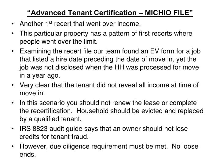 """Advanced Tenant Certification – MICHIO FILE"""