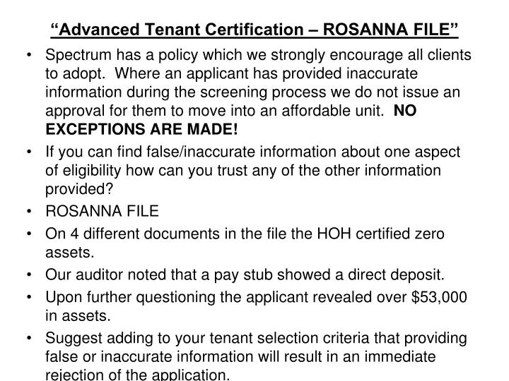 """Advanced Tenant Certification – ROSANNA FILE"""